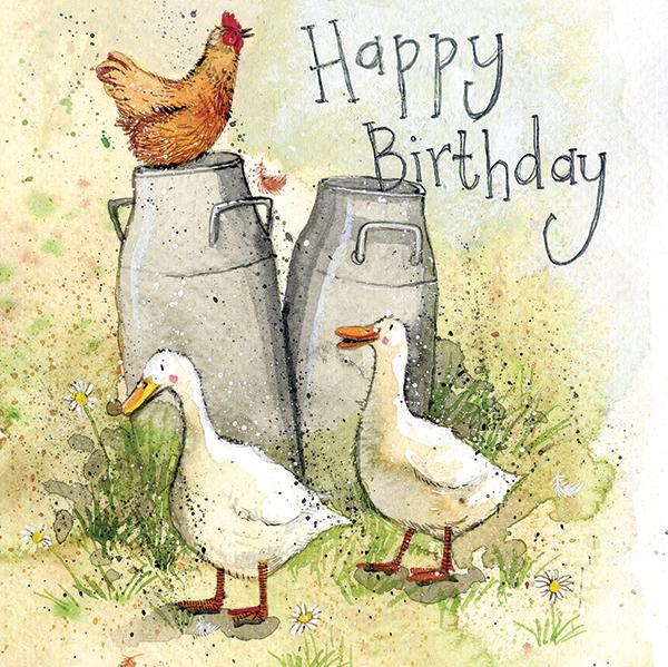 Milk Churns Happy Birthday Card