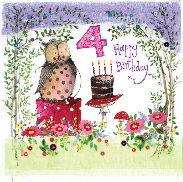 4 Year Old Woodland Birthday Card