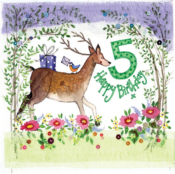 5 Year Old Woodland Birthday Card Alex Clark Art