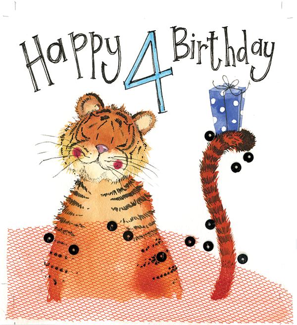4 Year Old Tiger Birthday Card