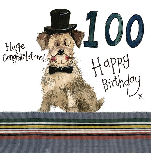 100 Years Old Paws Birthday Card Alex Clark Art
