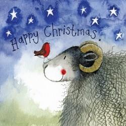 ALEX CLARK Thinking of You Christmas Robin Little Starlight Card
